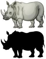Conjunto de caracteres de rinoceronte vetor