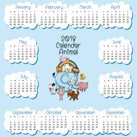 Modelo de calendário para 2018 com muitos animais vetor