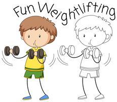 Doodle personagem de levantamento de peso de menino vetor