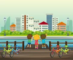 As crianças alugam a bicicleta no parque vetor