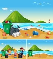 As crianças ajudam a limpar a praia suja vetor