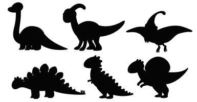 Conjunto de dinossauro de silhueta vetor