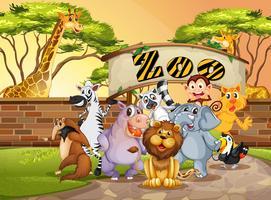 Animal feliz no zoológico vetor
