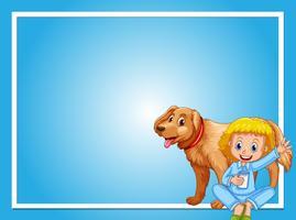 Design de moldura com menina e cachorro vetor