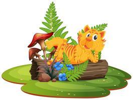 Tigre no log de árvore vetor