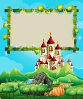 Modelo de fronteira com o palácio nas montanhas vetor