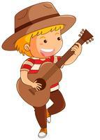 Menino, em, chapéu marrom, violão jogo vetor