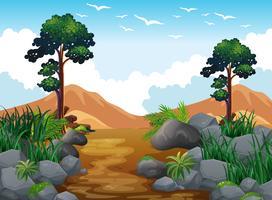 Cena de floresta e montanha rochosa vetor