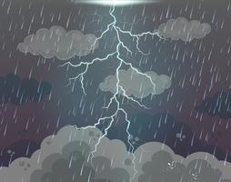 Cena fundo, com, relampago, e, chuva vetor