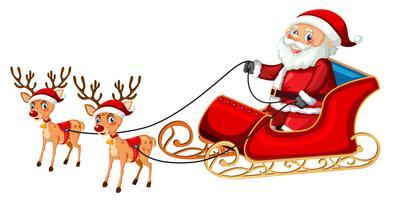 Papai Noel andando de trenó vetor
