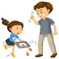 Um pai reclamar uma criança vetor