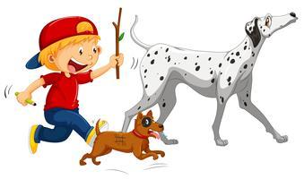 Menino, e, dois, cachorros, branco, fundo vetor