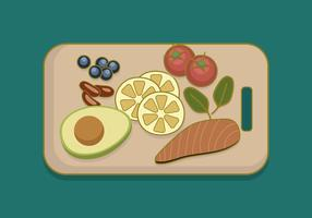 Comida saudável na placa de corte vetor