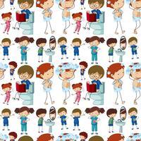 Plano de fundo sem emenda com crianças fazendo rotinas diferentes vetor