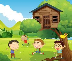 Quatro meninos, tocando, em, treehouse vetor