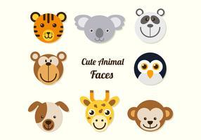Caras de animais dos desenhos animados vetor