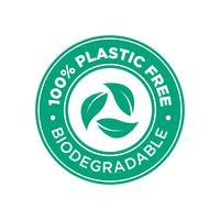 100% livre de Pastic. Ícone biodegradável. vetor