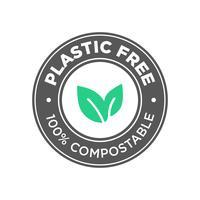 Livre de plástico. Ícone 100% Compostável. vetor