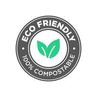 Eco Friendly. Ícone 100% Compostável. vetor