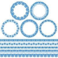 quadros de círculo ornamentais gregos azuis e padrões de fronteira vetor