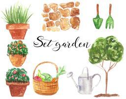 Conjunto de jardim. Ilustração em aquarela. Isolado. Natural e orgânico. Planta, flores, árvore, rega, caminho. Verde, marrom, vermelho. Vetor. vetor