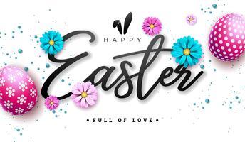 Ilustração feliz da Páscoa com a flor pintada vermelha do ovo e da mola no fundo branco. vetor