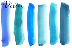 Conjunto de mancha de aquarela. Pontos em um fundo branco. Textura de aquarela com pinceladas. Azul, turquesa. Mar, céu. Isolado. Vetor.