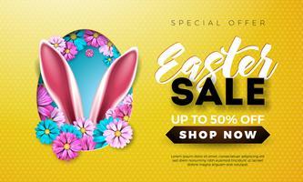 Ilustração da venda da Páscoa com a flor da mola e orelhas de coelho no fundo amarelo.