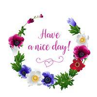 Grinalda com flores desenhadas à mão de flores de anêmona vetor