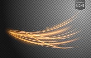 Linha ondulada de ouro abstrata de luz com um fundo transparente