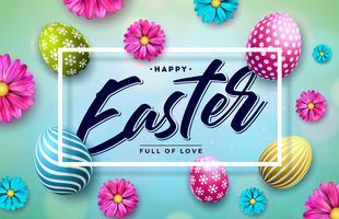 Ilustração feliz da Páscoa com a flor pintada colorida do ovo e da mola no fundo azul. vetor