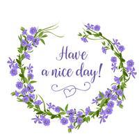 Grinalda de flor desenhada de mão de pervinca. Modelo de cartão de flores da primavera. vetor