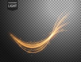 Linha ondulada de ouro abstrata de luz com um fundo transparente vetor
