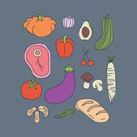 Comida saudável rabiscada vetor