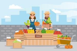 Loja rural. Mercado local. Vendendo frutas e legumes