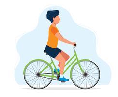 Homem com uma bicicleta, ilustração do conceito para o estilo de vida saudável, esporte, ciclismo, atividades ao ar livre. vetor
