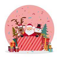 personagens fofinhos de Papai Noel em diferentes emoções. vetor