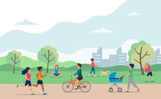 Pessoas fazendo várias atividades ao ar livre no parque. Corrida, ciclismo, passear com o cachorro, exercitar-se, meditar, passear com carrinho de bebê.