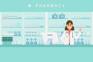 farmácia com enfermeira no balcão. personagem de desenho animado de farmácia vetor