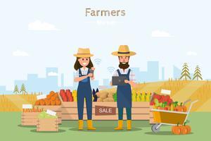 Loja rural. Mercado local. Vendendo frutas e legumes. conectados.