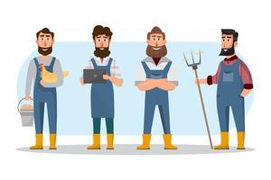 desenhos animados de agricultor em vários caracteres. Fazenda rural orgânica vetor