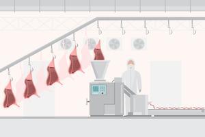 Fábrica de carne de porco e carne com máquinas automáticas vetor