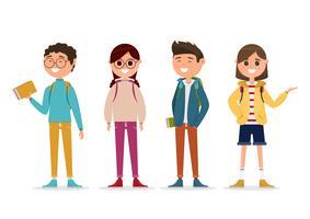 estudantes em caráter diferente isolado no fundo branco. vetor