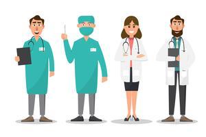 Conjunto de personagens de desenhos animados de médico e enfermeiro vetor