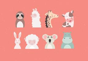 Animal Faces Set vetor