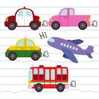 Este gráfico é o conjunto de ícones de transporte. Vetor de ilustração.