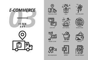 Pacote de ícones para e-commerce, código de acompanhamento, venda, entrega rápida, fluxo de dinheiro, checkout, carteira, chat ao vivo, tráfego do site, mercado mundial, móvel, on-line.