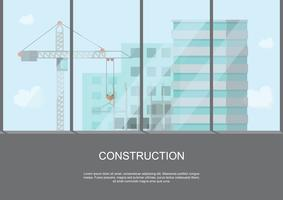 processo de trabalho do site em construção com guindastes e máquinas na alta vista do edifício vetor