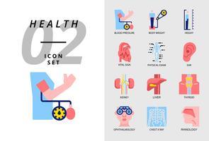 Icon pack para a saúde, hospital, pressão arterial, peso corporal, altura, sinal vital, exame físico, ouvido, rim, fígado, tireóide, oftalmologista, raio x torácica, rinologia.