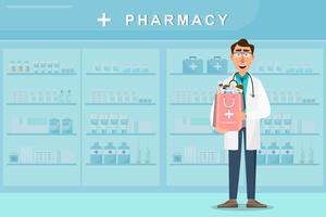 farmácia com médico segurando um saco de medicamentos vetor